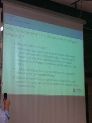 Foto del talk su type theory